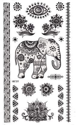 King Horse Henna Elephant Sticker Body Art Temporary Tattoo Sticker
