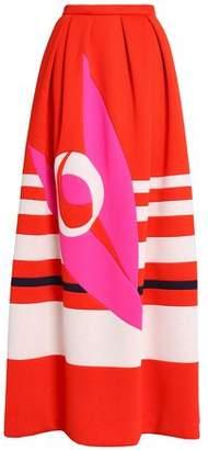 DELPOZO Pleated Printed Neoprene Maxi Skirt