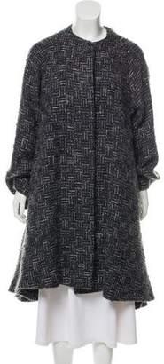 Carmen Marc Valvo Long Tweed Coat