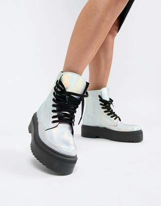 Asos Design DESIGN Attitude Chunky Lace Up Boots in iridescent