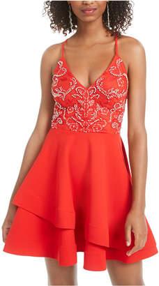B. Darlin Juniors' Strappy Embellished A-Line Dress