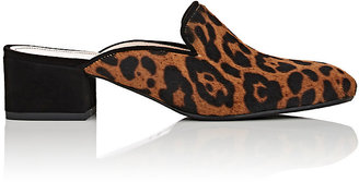 Barneys New York Women's Chunky-Heel Calf Hair Mules $295 thestylecure.com
