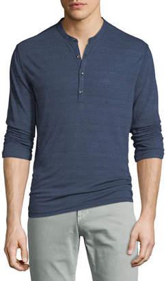 John Varvatos Men's Cover-Stitch Henley Shirt