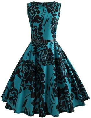 ASTV Classic Vintage Printing Evening Party Cocktail Dress Wedding Dress (Blue2, L)