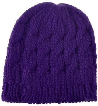 BEIGE Zodaca Women Beanie Hat Winter Warm Crochet Ball Girl Woman Thick Lined Cable Knitted Cap Hat Soft Knit Headwear - Purple