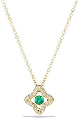 David Yurman Venetian Quatrefoil Necklace with Emerald and Diamonds in 18K Gold