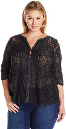 Lucky Brand Women's Lace Mix Top