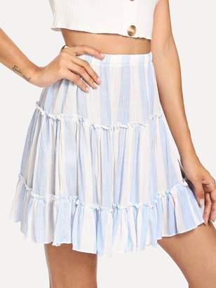 Shein Ruffle Waist Elastic Striped Skirt