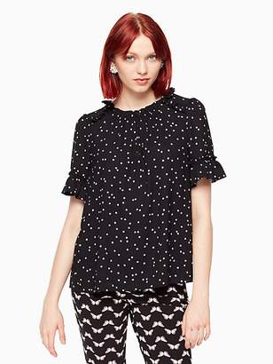 Kate Spade Scatter dot ruffle top