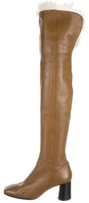 Helmut Lang Shearling-Trimmed Over-The-Knee Boots