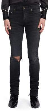 Saint Laurent Washed Distressed Skinny-Fit Jeans