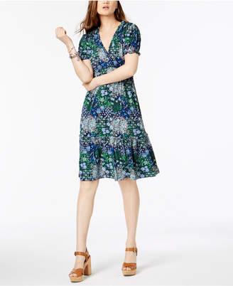 Michael Kors Printed Ruffled Tiered Dress In Regular & Petite Sizes