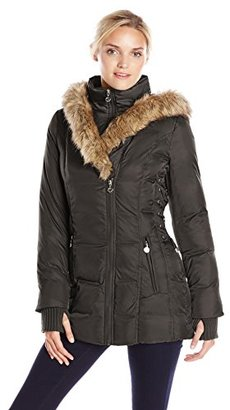 Betsey Johnson Women's Mid-Length Puffer Coat with Faux-Fur Hood $255 thestylecure.com
