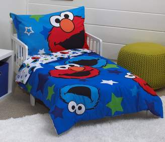 Sesame Street Elmo/Cookie Monster 4 Piece Toddler Bed Set, Blue/Red/Green