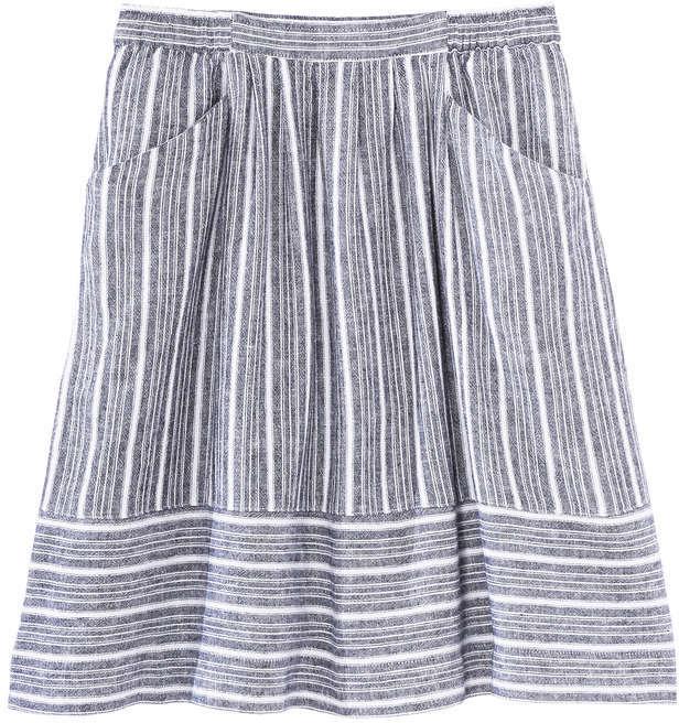 Joe Fresh Women's Mix Stripe Skirt, Navy (Size M)