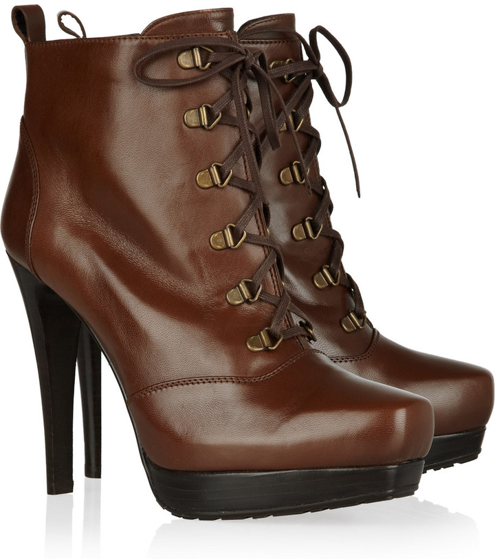 Stuart Weitzman TKO lace-up leather ankle boots