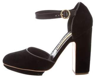 Rupert Sanderson Velvet Ankle Strap Pumps
