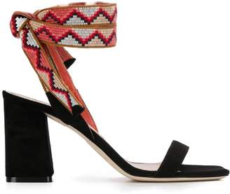 Gianna Meliani contrasting tie fastening sandals
