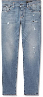 Dolce & Gabbana Slim-Fit Distressed Stretch-Denim Jeans - Light blue