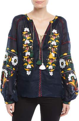 Vita Kin Split-Neck Long-Sleeve Floral-Embroidered Linen Blouse