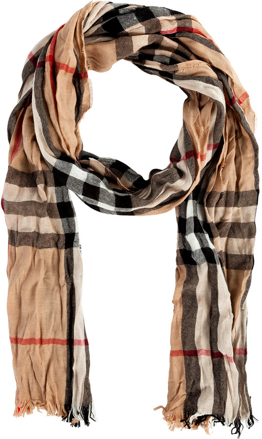 Burberry Camel Check Merino-Cashmere Crinkled Scarf