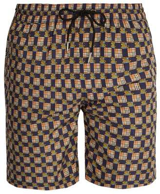 Burberry Archive Logo And Vintage Check Print Swim Shorts - Mens - Navy Multi