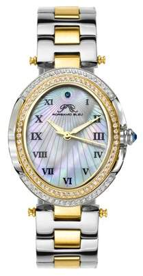 Mother of Pearl Porsamo Bleu South Sea Oval Crystal ladies' stainless steel watch with dial, two tone silver gold 106FSSO