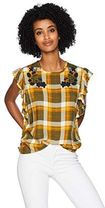 Frilled Sleeveless Checkered Multicoloured Top with Single Side Floral Embroidery on The Shoulder (L)