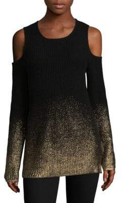 Design History Metallic Cold-Shoulder Sweater