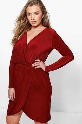 boohoo Plus Leah Slinky Wrap Front Dress