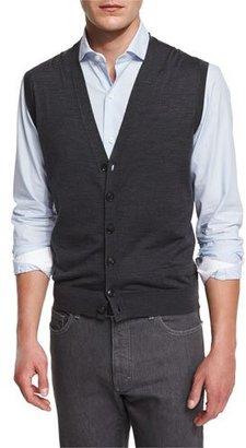 Ermenegildo Zegna Wool Cardigan Vest, Charcoal $595 thestylecure.com