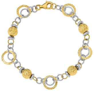 14K Two-tone Rings & Beads Bracelet, 6.1g