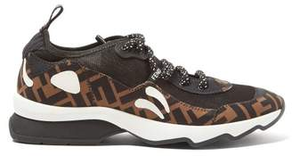 Fendi Freedom Ff Print Panelled Trainers - Womens - Black Brown