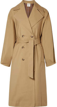 Sea Kamille Checked Woven And Stretch-cotton Poplin Trench Coat - Sand