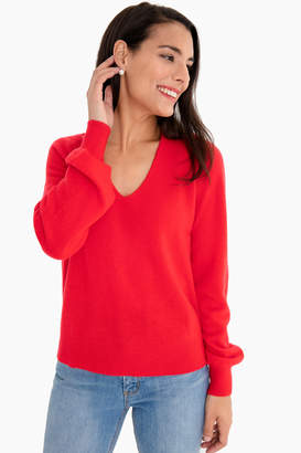 White + Warren Red Heather Blouson Sleeve V-Neck Sweater