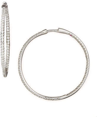 Roberto Coin 25mm 18K Gold Micro-Pave Diamond Hoop Earrings