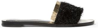 Lanvin - Tinsel-trimmed Leather Sandals - Black $550 thestylecure.com