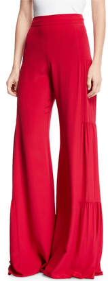 Alexis Talley Shirred Wide-Leg Silk Pants