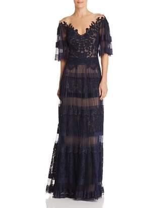 Tadashi Shoji Pleated Illusion Gown
