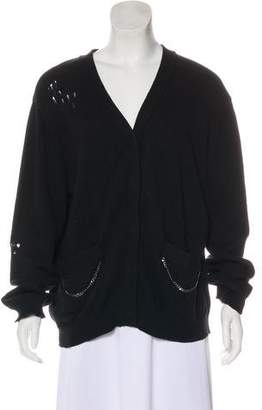 Thomas Wylde Distressed Chain-Accented Cardigan