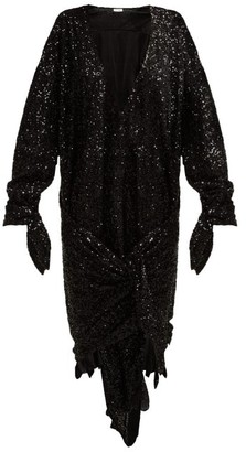 ATTICO Tie Front Sequined Dress - Womens - Black