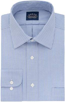 Eagle Men's Non Iron Stretch Collar Regular Fit Check Spread Collar Dress Shirt
