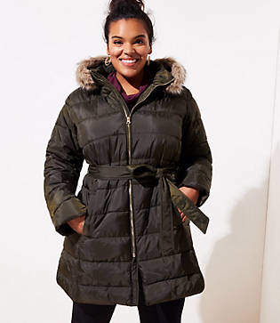 LOFT Plus Faux Fur Trim Belted Puffer Coat
