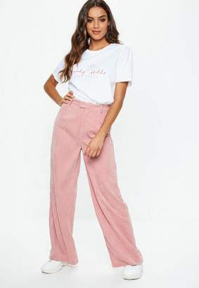 Missguided Pink Cord Wide Leg Trousers