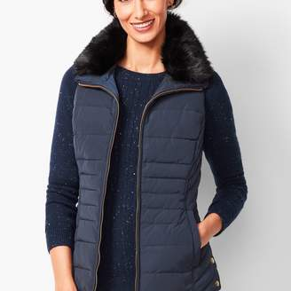 Talbots Down Fur-Collar Puffer Vest