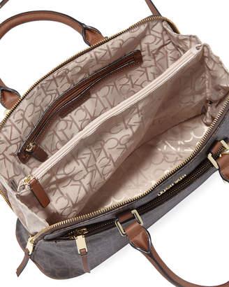Calvin Klein Iconic American Designer Monogram Canvas Satchel Bag