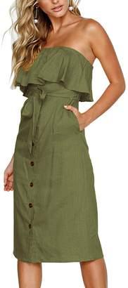 Assivia Womens Summer Off Shoulder Ruffle Button Down Tie Waist Casual Midi Dress with Pockets (, M)