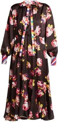 MSGM Rose Print Satin Midi Dress - Womens - Black Multi