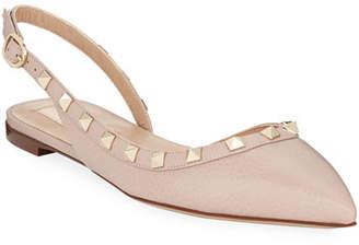 Valentino Rockstud Leather Slingback Ballet Flats