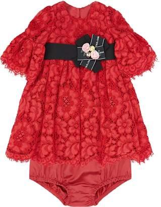 Dolce & Gabbana Lace Fluted Sleeve Dress